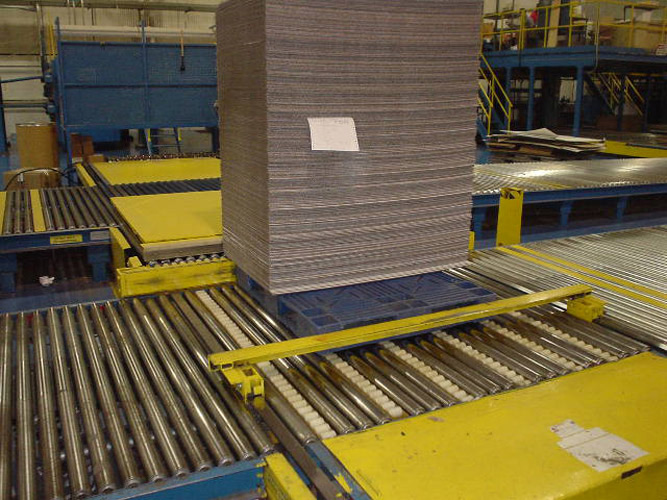 Double Sided Pallet on Conveyor